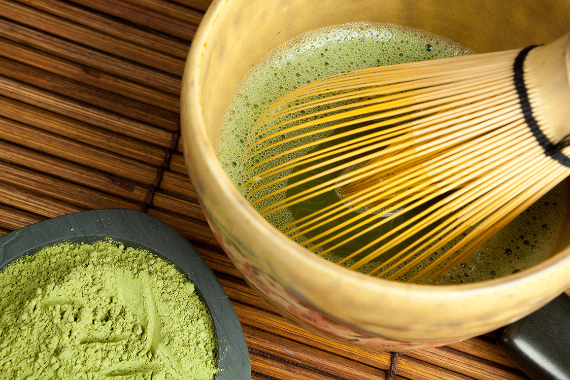 Bamboo wire whisk and japanese tea