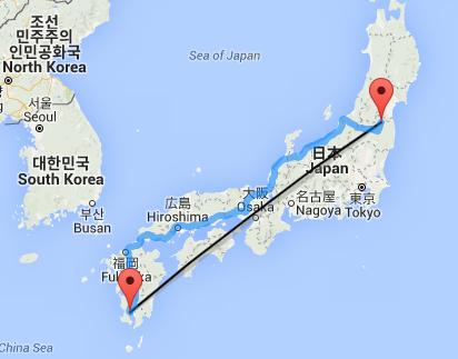Kagoshima Fukushima Luftlinie