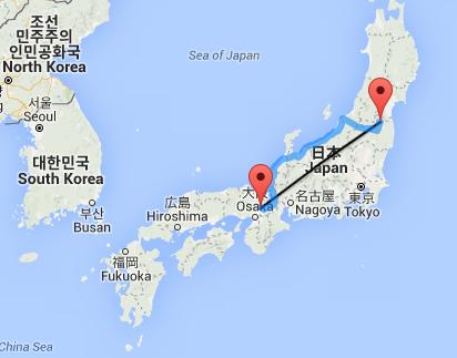 Uji Fukushima Luftlinie